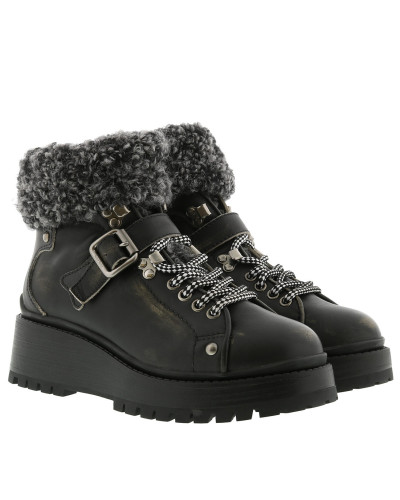 Leather and Knit Booties Nero/Grigio Schuhe