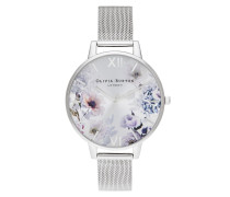 Uhr Women Quartz Watch Sunlight Florals Silver