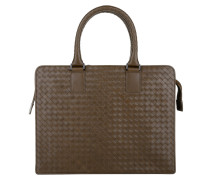 Handtasche - Men's Briefcase Portacarte Intrecciato Brown