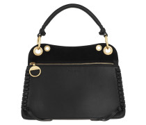 Satchel Bag Whipstitch Panelled Tote Leather Black