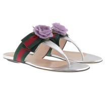 Flower Grosgrain Web Thong Sandal Silver Sandalen