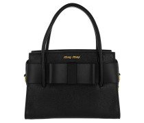 Madras Goat Handle Bag Black Tote