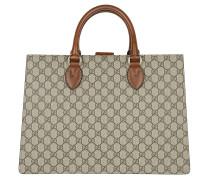 GG Supreme Top Handle Bag Large Beige Ebony Tote braun