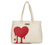Heart Shopping Bag Calf PU Avorio/Rosso Umhängetasche