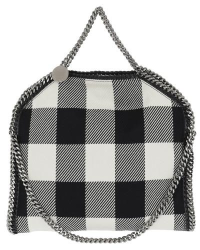 Stella McCartney Damen Falabella Checked Pattern Black Henkeltasche weiß