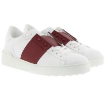 Bicolor Rockstud Sneakers White/Bordeaux Sneakers rot