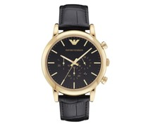 Uhr Men's Chronograph Black Leather Watch