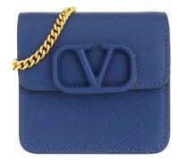 Portemonnaie V Logo Sling Chain Wallet Leather