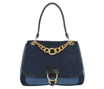Sacca Dalia Denim & Solf Calf Satchel Bag Blue
