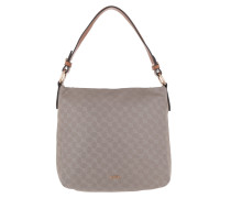 Dina Nylon Cornflower Hobo Bag Beige braun