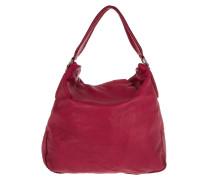 Tasche - Yokohama Vintage Leather Hobo Bag Cherry Blossom Red