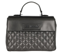 Satchel Bag Shoulder Quilted Faux Leather Silver