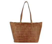 Helena Shopper Soft Croco Light Brown Umhängetasche