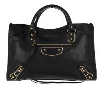 Tote Metallic Edge Classic City Bag Leather Black