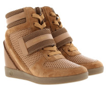 Perforated Wedge Sneaker Camel Tannin