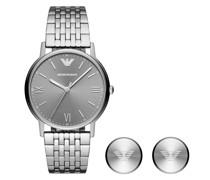 Uhr Set Men Watch and Cufflinks Silver