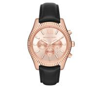 Armbanduhr - Unisex Lexington Watch Rosegold-Tone Leather Black
