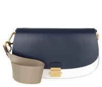 Tasche - Mia SM Shoulder Leather Optic White/Maritime - in braun, blau, weiß