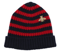 Striped Wool Hat Blue/Red Schal rot