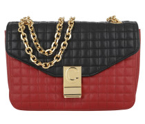 Umhängetasche C Bag Medium Quilted Calfskin Red Black