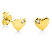 Ohrringe 0.02ct Diamond Heart Stud Earring