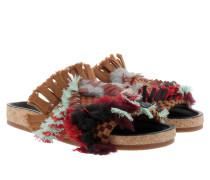 Kerenn Flat Shearling Mule Tapestry Tan Sandalen