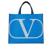 Tote Small V Logo Shopper Leather Neonblue