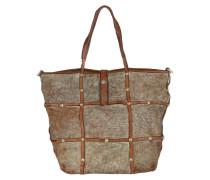 Shopping Bag Laminated Circle Cow Argento T/Cognac Tote braun