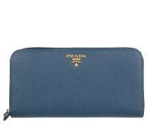 Kleinleder - Zip Around Saffiano Wallet Bluette