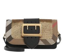 House Check Sequins Shoulder Bag Small Black/Gold Umhängetasche gold