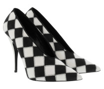Checked Pointed Pumps Black/White weiß