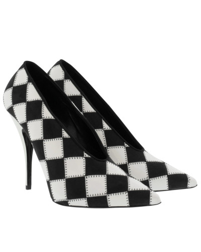 Stella McCartney Damen Checked Pointed Pumps Black/White Pumps weiß
