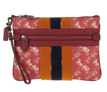 Pochette Varsity Stripe Front Zip Clutch Red
