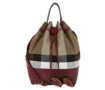 Heston Canvas Check Bucket Bag MD Burgundy Red Beuteltasche rot