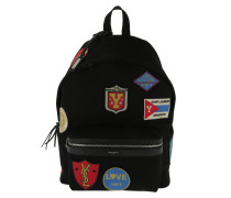 City Canvas Backpack Patches Black Multi Rucksack