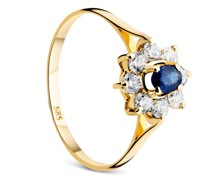 Ring 14KT Sapphire With Cubic Zirconia