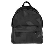 Mens Zaino Printed Backpack Black Rucksack schwarz