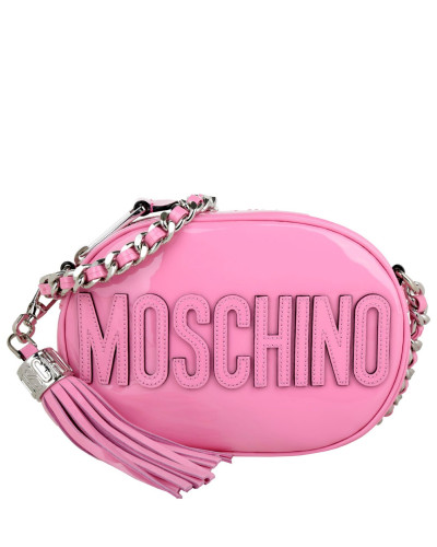 moschino damen moschino tasche oval patent crossbody logo pink in pink umh ngetasche f r. Black Bedroom Furniture Sets. Home Design Ideas