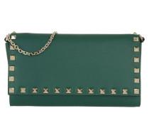 Rockstud Chain Wallet Calfskin Smeraldo Portemonnaie