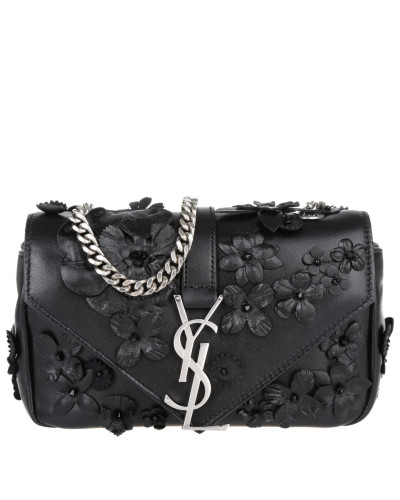 saint laurent damen saint laurent tasche ysl bo ming chain broderie flower nero in schwarz. Black Bedroom Furniture Sets. Home Design Ideas