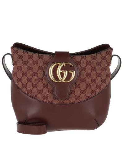 Umhängetasche Arli GG Medium Shoulder Bag Leather Beige/Bordeaux rot