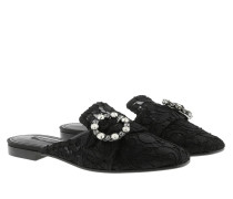 Schuhe Lace With Jewel Buckle Slippers Black
