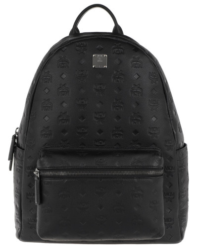 Rucksack Ottomar Monogrammed Leather Backpack Medium Black schwarz