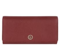PVC Saffiano Flap Wallet Bordeaux Portemonnaie