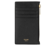 Portemonnaie Zipped Compact Card Holder Leather Black