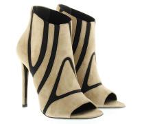Boots & Booties - Bootie Open Toe Camel Suede Black Details