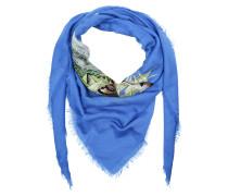 Tiger Print Modal Silk Scarf Blue Schal blau