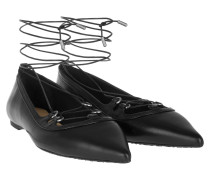 Ballerinas - Tabby Leather Lace-Up Flat