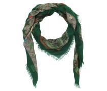 GG Silk Scarf Tian Beige Ebony Red Schal grün