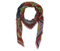 Printed Wool Silk Shawl Multicolor Schal